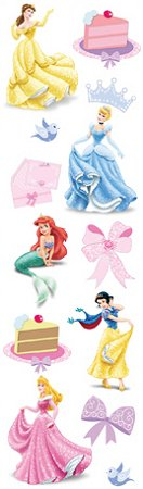 3D Disney Princess Birthday Stickers