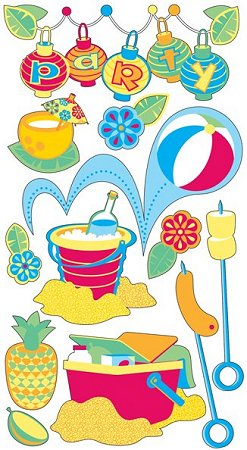 Glitter Beach Party Stickers