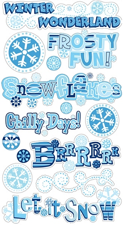 Frosty Winter Phrases Stickers