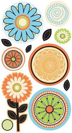 Glitter Citrus Flowers Stickers