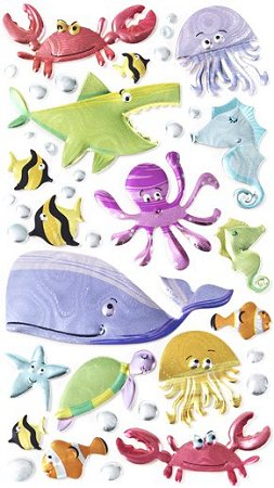 3D Metallic Under The Sea Stickers
