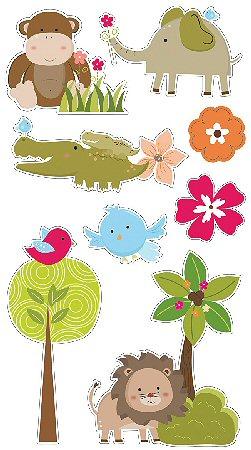 3D Jungle Animals Stickers