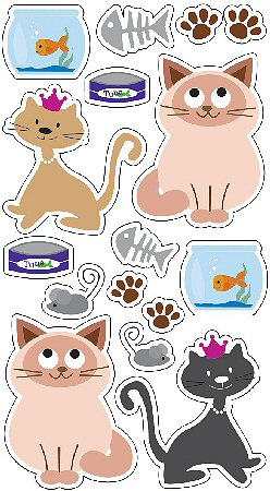 3D Cute Cats Stickers