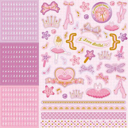 Glitter Ballet Princess Alpha Stickers