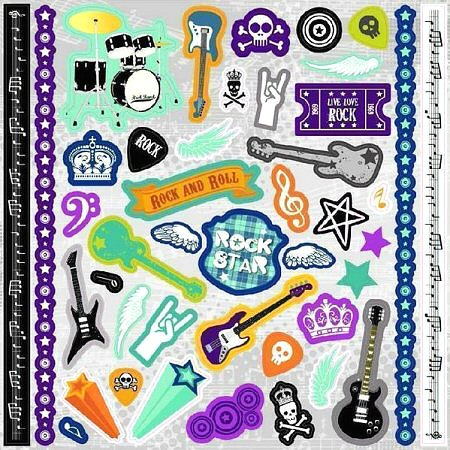 Glitter Rock Star Stickers