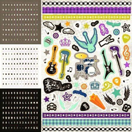 Glitter Rock Star Alphabet Stickers