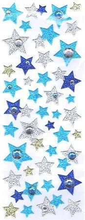 Glitter Stars  W/ Rhinestones Kawaii Stickers
