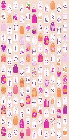 Raspberry Sunrise Tag Alphabet Stickers
