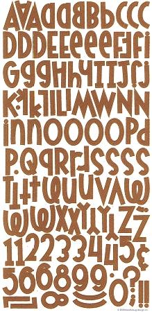 Brown Flocked Alphabet Stickers
