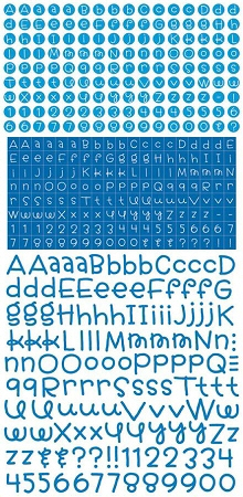 Blue Teensy Type Alphabet Stickers