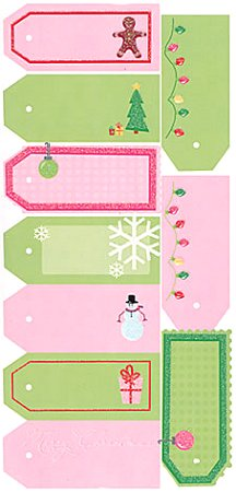 Glitter Christmas Tags Stickers