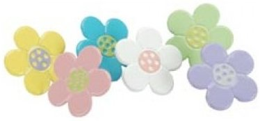 10 Pastel Flowers Brads