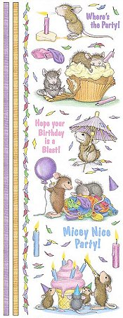 Birthday Party Mice Stickers