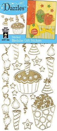 Gold Birthday Outlines Stickers