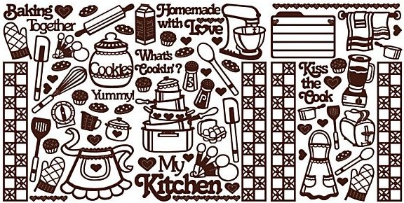 Brown Cooking Outlines Stickers