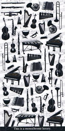 Musical Instruments Monochrome Kawaii Stickers