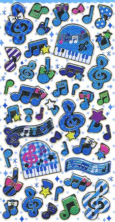 Blue Music Hard Epoxy Kawaii Stickers