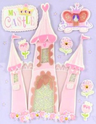 3d Pink Princess Castle Stickers