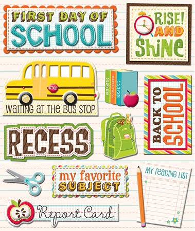 3D First Day Of School Stickers