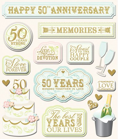 3d 50th Anniversary Stickers 9527 Wedding Stickers