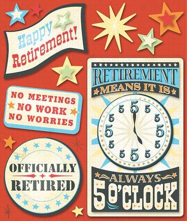 3D Happy Retirement Stickers