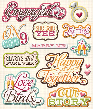3d Engagement Stickers 9529 Wedding Stickers Scrapbooking