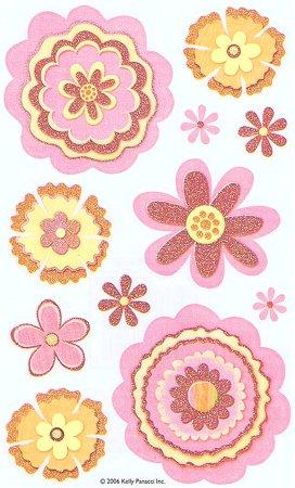 Vellum Glitter Flowers Stickers