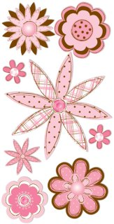 3d Pink Brown Sketch Flowers Stickers 6910 Flower Stickers