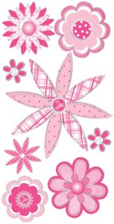 3d Pink Sketch Flowers Stickers