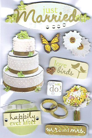 3d Just Married Stickers 11032 Wedding Stickers Scrapbooking