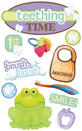 3D Teething Time Stickers