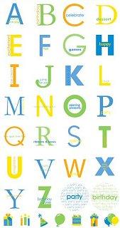 Birthday Boy Circle Alphabet Stickers