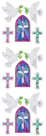 Shiny Doves & Crosses Stickers