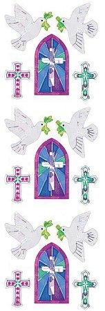 Shiny Doves & Crosses Stickers