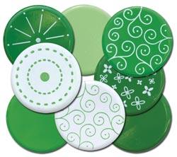 10 Green Big 25mm Brads