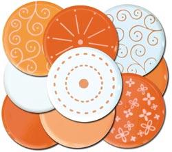 10 Orange Big 25mm Brads