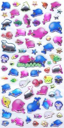 Sea Paradise Dolphins Epoxy Kawaii Stickers