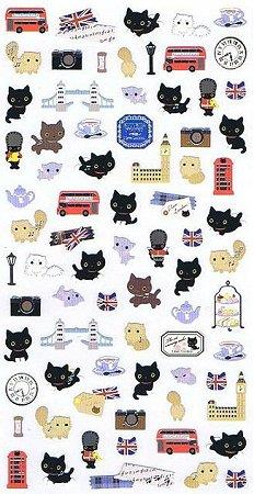 Kutusita Nyanko Cat London Kawaii Stickers