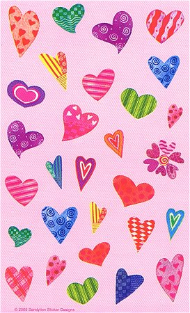 Funky Love Hearts Stickers