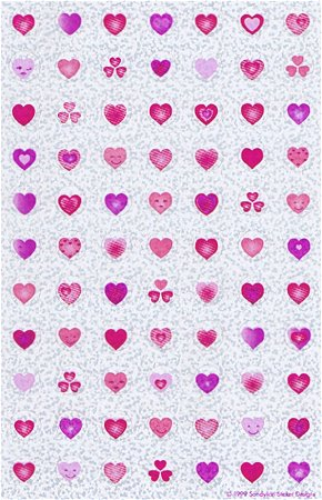 Shiny Pink Hearts Stickers