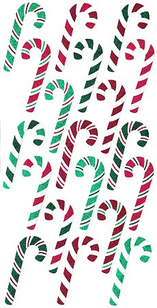 Shiny Candy Canes Stickers