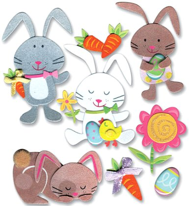 3d Easter Bunnies Stickers #8700 :: Easter Stickers ...