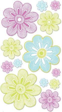 3D Neon Flowers Stickers