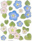 Pink And Blue Flowers Stickers