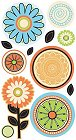 Glitter Citrus Flowers Stickers