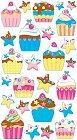 Shiny Birthday Cupcakes Epoxy Stickers
