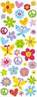 Puffy Peace & Love Flowers Stickers