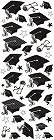 Puffy Graduation Caps Stickers