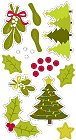3D Christmas Trees & Holly Stickers
