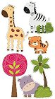 3D Cute Jungle Animals Stickers